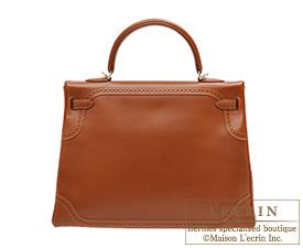 Hermes Kelly Ghillies bag 35 Retourne Fauve Tadelakt leather Champagne gold hardware