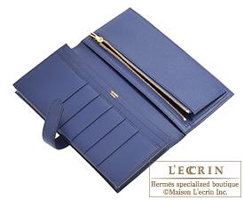 Hermes Bearn Soufflet Blue saphir Epsom leather Gold hardware