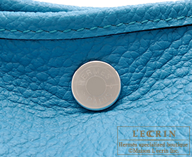 Hermes Garden Party bag PM Turquoise blue Country leather Silver hardware