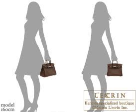 Hermes Birkin bag 25 Chocolat Togo leather Silver hardware