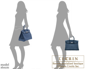 Hermes Birkin bag 35 Blue de presse/Dark blue Togo leather Silver hardware