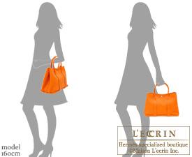 Hermes Garden Party bag PM Orange Negonda leather Silver hardware