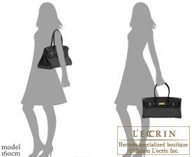 Hermes JPG Shoulder Birkin Black Clemence leather Gold hardware