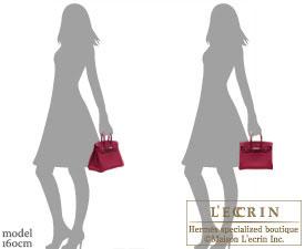 Hermes Birkin bag 25 Ruby Epsom leather Silver hardware