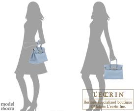 Hermes Birkin bag 30 Blue lin Togo leather Silver hardware