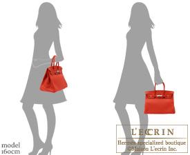 Hermes Birkin bag 35 Vermillon Togo leather Silver hardware
