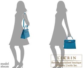 Hermes Kelly bag 32 Retourne Blue izmir Clemence leather Silver hardware