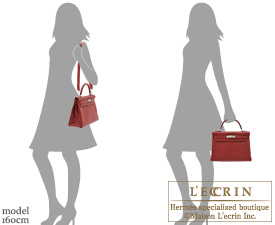 Hermes Kelly bag 32 Retourne Rouge H Clemence leather Silver hardware