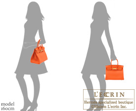 8206644822 Hermes Birkin bag 30 Feu Fire orange Togo leather Gold hardware