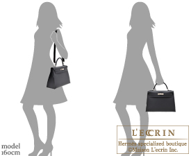 Hermes Kelly bag 32 Black Sombrero leather Silver hardware