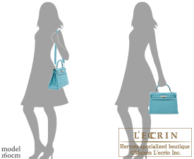 Hermes Kelly bag 32 Retourne Blue Saint-Cyr Clemence leather Silver hardware