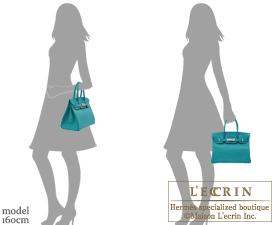 Hermes Birkin bag 30 Blue paon Chevre myzore goatskin Silver hardware
