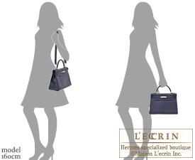 Hermes Kelly bag 32 Blue nuit Togo leather Silver hardware