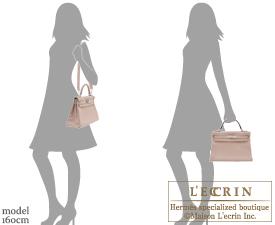 Hermes Kelly bag 32 Retourne Glycine Clemence leather Silver hardware
