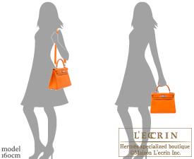 Hermes Kelly bag 28 Orange Clemence leather Silver hardware