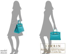 Hermes Birkin bag 35 Blue paon Clemence leather Gold hardware