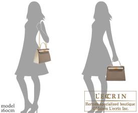Hermes Kelly bag 28 Sellier Etoupe grey/Craie Epsom leather Matt gold hardware