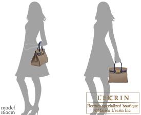 Hermes Birkin bag 30 Etoupe grey/Blue saphir Epsom leather Gold hardware