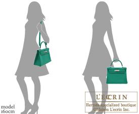 Hermes Kelly bag 28 Vert vertigo Clemence leather Silver hardware