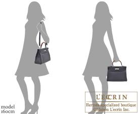 Hermes Kelly Au Galop bag 32 Retourne Blue indigo/Black/Cuivre Togo leather/Box calf leather/Chevre myzore goatskin Silver hardware