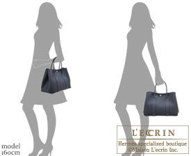 Hermes Garden Party bag PM Camails Blue indigo Negonda leather Silver hardware