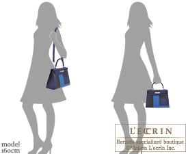 Hermes Kelly Graphie bag 28 Sellier Blue encre/Blue zellige/Black/Vert cypres Clemence leather/Epsom leather/Sombrero leather Silver hardware