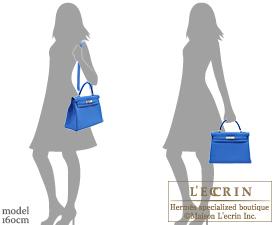 Hermes Kelly bag 32 Retourne Blue zellige Togo leather Silver hardware