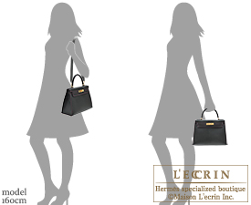 Hermes Kelly bag 28 Black/Pearl grey Chevre myzore goatskin Gold hardware