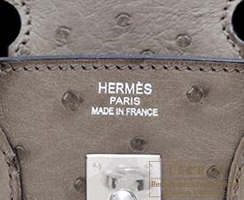 ... Hermes Birkin bag 25 Mousse Ostrich leather Silver hardware af8cdb050d9ab