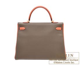 Hermes Kelly bag 35 Etoupe/Crevette Togo leather Gold hardware