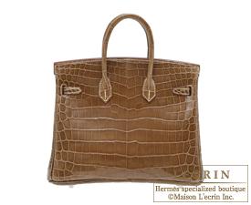 Hermes Birkin bag 25 Ficelle Niloticus crocodile skin Silver ... 56e2324f43709
