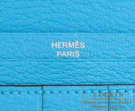 Hermes Bearn Soufflet Blue aztec Chevre myzore goatskin Silver hardware