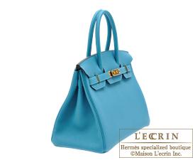 Hermes Birkin bag 30 Turquoise blue Togo leather Gold hardware