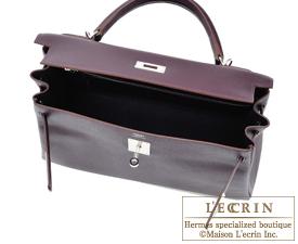 Hermes Kelly bag 32 Raisin Epsom leather Silver hardware