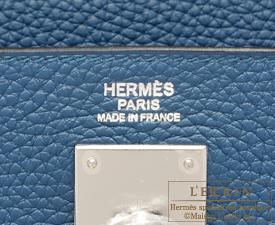 Hermes Kelly bag 32 Retourne Blue thalassa Clemence leather Silver hardware