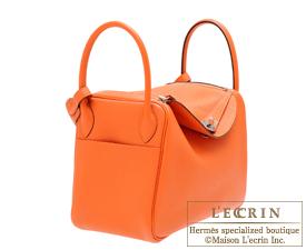 Hermes Lindy bag 30 Feu Clemence leather Silver hardware