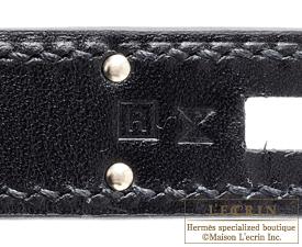 Hermes Kelly bag 28 Black Box calf leather Guilloche hardware