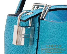 Hermes Picotin Lock bag PM Turquoise blue Clemence leather Silver hardware