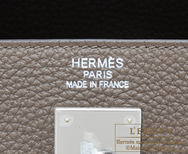 Hermes Kelly bag 35 Taupe grey Togo leather Silver hardware