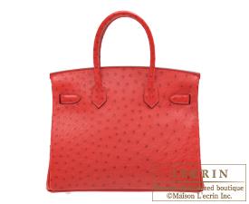 Hermes Birkin bag 30 Rouge vif Ostrich leather Silver hardware