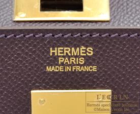 Hermes Kelly bag 32 Raisin Epsom leather Gold hardware