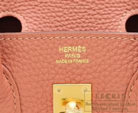 Hermes Birkin bag 25 Rosy Togo leather Gold hardware