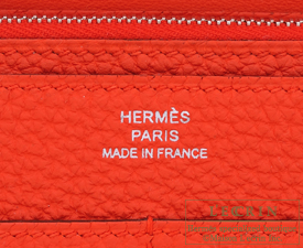 Hermes Dogon GM Capucine Togo leather Silver hardware