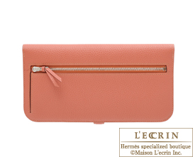 Hermes Dogon LONG Rosy Togo leather Matt silver hardware