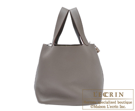Hermes Picotin Lock bag GM Etain Clemence leather Silver hardware