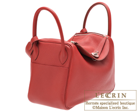 Hermes Lindy bag 30 Rouge garance Clemence leather Silver hardware