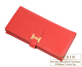 Hermes Bearn Soufflet Rouge casaque Chevre myzore goatskin Gold hardware