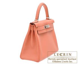 Hermes Kelly bag 28 Rose tea Clemence leather Silver hardware