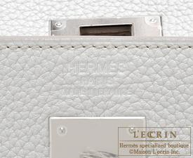 Hermes Birkin bag 35 Pearl grey Clemence leather Silver hardware