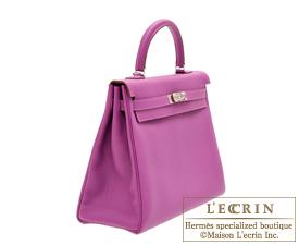 Hermes Kelly bag 35 Anemone Togo leather Silver hardware